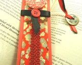 Handmade Bookmark with Asian Motif, Red, Black, White, Zine, Journals, Chinese Coin, Prosperity, Good Fortune, Bookmark Accessories