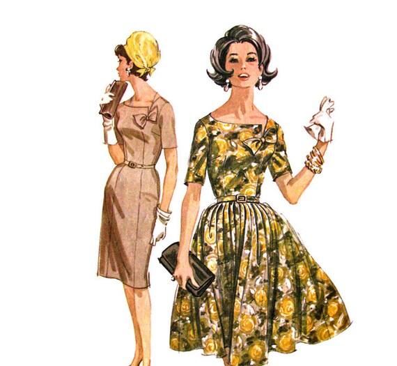 60s Mad Men Dress Plus Size Vintage Pattern McCalls 6328 Bust 44 Slim or Full Skirt Neck Bow
