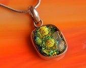 SALE Handmade Dichroic Fused Glass and Sterling Silver .925 Pendant Necklace