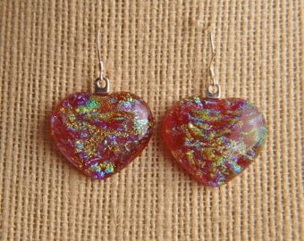 Handmade Dichroic Glass Earrings Sterling Silver ...hearts...