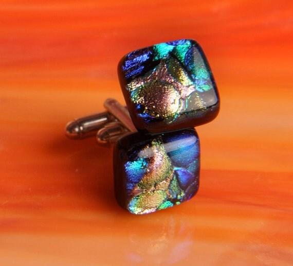 Handmade DIchroic Fused Glass Silver Cufflinks Cuff Links