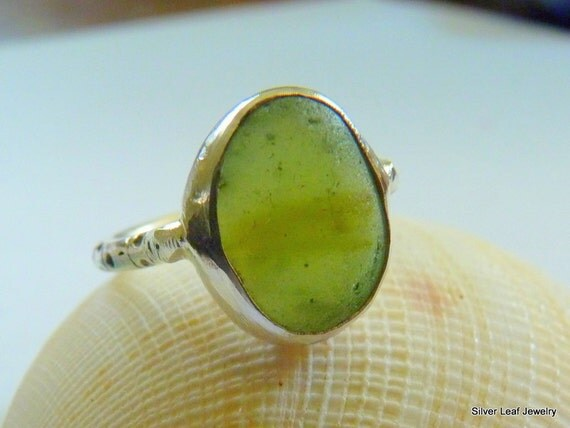 FLORA Green Sea Glass Ring - Genuine Olive English Multi - Sterling Silver - Size 8-3/4