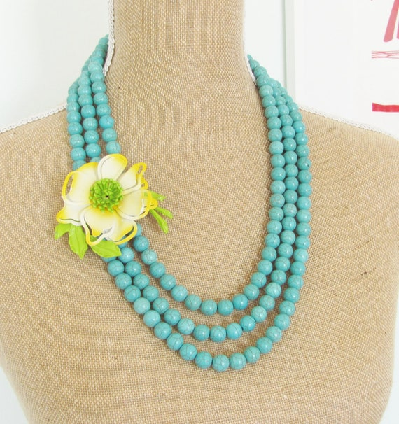 Enamel Flower Vintage Bright Yellow, Apple Green, Crisp White Asymmetrical Triple Strand Turquoise Blue Howlite Statement Necklace OOAK