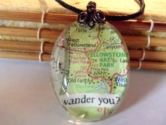 Map Yellowstone National Park Old Faithful Green Blue Red Resin Pendant Necklace Jewelry Travel Traveller Wander  Words Wire Wrapped
