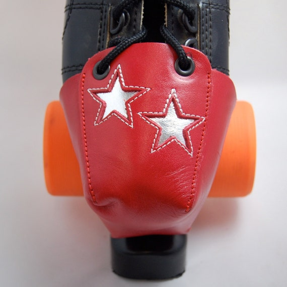 DA-45  Red Leather Toe Guards with Double Silver Stars
