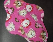 Mama Cloth Reusable Menstrual Sanitary Pad pink cats kitties felines - size L to L Plus