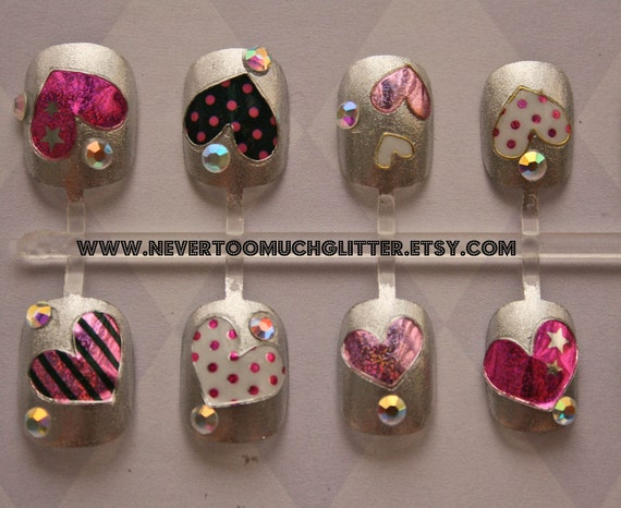Nail Art Press On Nails- Whole Lotta Love- Silver
