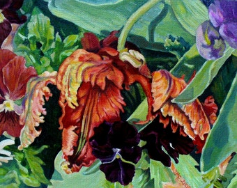 parrot tulip and pansy painting 5x7 Hand Mounted Hand Signed Art Card