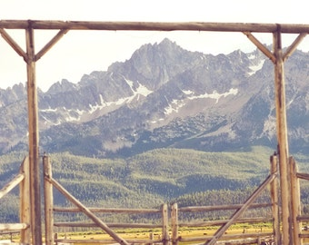 The Ranch - 4 x 6 Fine Art Photograph - rugged western mountain gate fence log landscape home decor print
