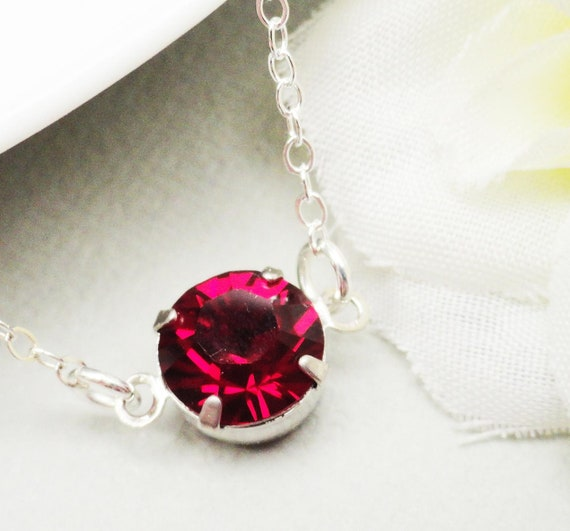 Siam Ruby Swarovski Crystal Set Layering Necklace Sterling Silver