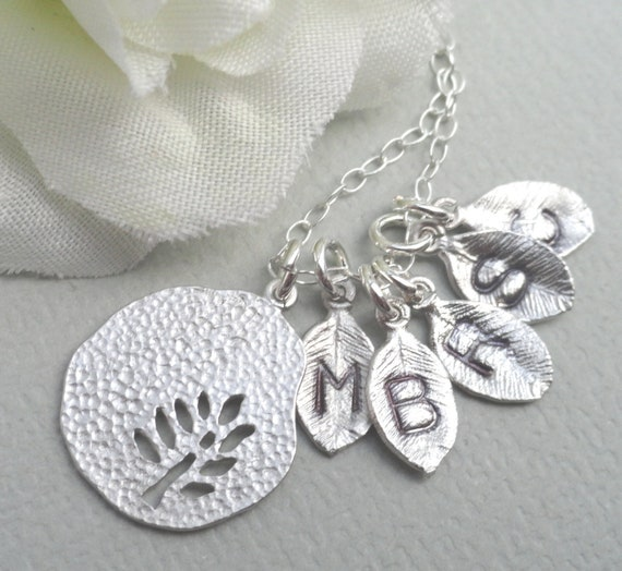 My Family - Personalized Monogrammed Leaf Necklace Sterling Silver
