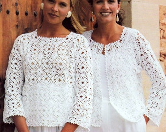 Vintage Crochet Pattern  Granny Square Motif Tops  Sweater Jacket Vest Top INSTANT DOWNLOAD PDF
