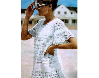 INSTANT DOWNLOAD PDF Vintage Crochet Pattern   Lace Beach Cover Up  Baby Doll Dress Tunic  Mini Retro Plus Free Pattern