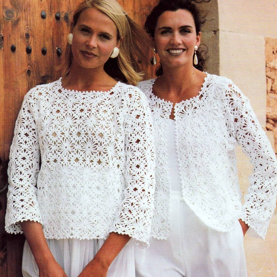 Crochet Granny Square Vest Patterns : Vintage Crochet Pattern Granny Square Motif Tops Sweater