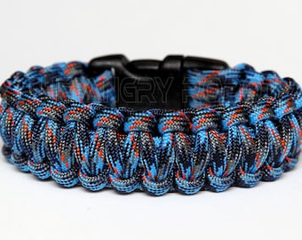 550 Paracord Survival Bracelet  - Survival Camo - Blue Navy Grey Orange