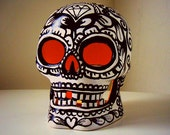 Sugar Skull Lantern Painted Halloween Decor Black & White Day of the Dead Ceramic Candle Holder Tattoo Sacred Heart Roses - sewZinski
