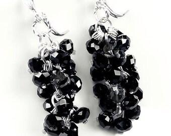 Crystal Bridesmaid Earrings, Jet Black Swarovski Crystal Waterfall Bridal Earrings, Wedding Jewelry - Erin (WE0112)
