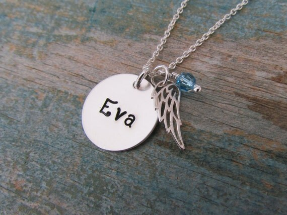 Reserved - Personalized angel wing necklace