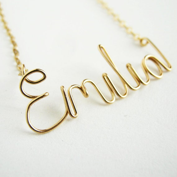 Gold Girls Kids Custom Name Necklace. Personalized Gold Child Name Necklace. Name Plate Name Necklace.