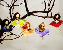 3 Flower Fairy Doll Ornaments, Waldorf Christmas Fairies, Fairy Princess Gift,Tree Fairy Doll, Fairy Christmas, Ornament Set