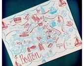 Boston City Map Letterpress Postcard/Save the Date Cards