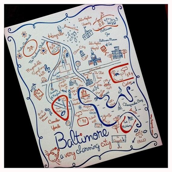 Baltimore Map Letterpress Postcard / Save the Date
