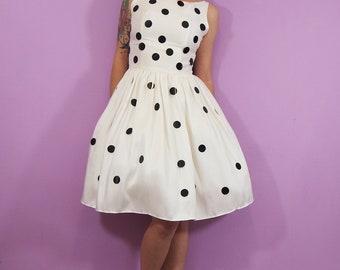 White and Black Polka dot Silk Dress - MADE TO ORDER
