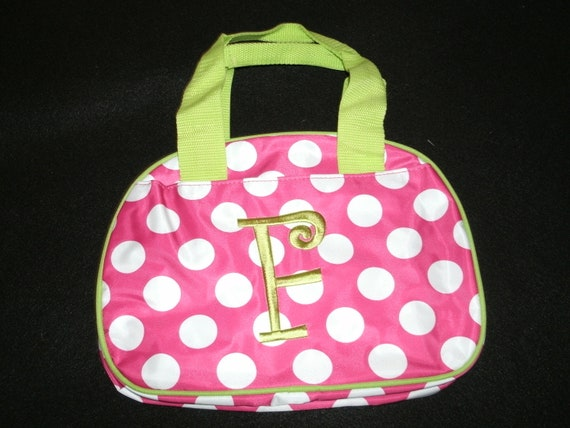"Ready To Ship Monogrammed ""F"" Lunch Bag Lunch Box Clearance"