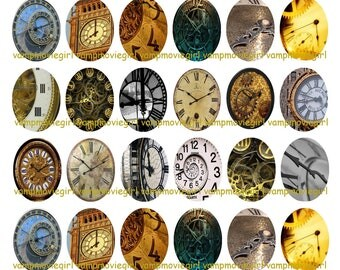 INSTANT DOWNLOAD...Time Clocks... 18x25mm Oval Images Collage Sheet for Pendants ...Buy 3 get 1