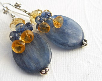Blue Kyanite Earrings with yellow Citrine, Sterling Silver, large stone earrings, bold gemstones