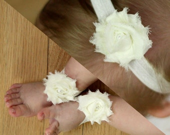 BOGO Ivory Baby Barefoot Sandals and Headband Sale