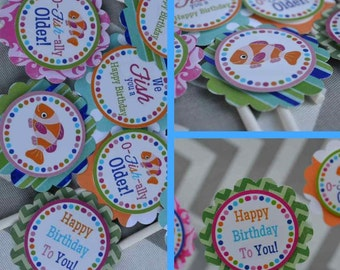 Fish Birthday Party Cupcake Toppers Decorations Fully Assembled