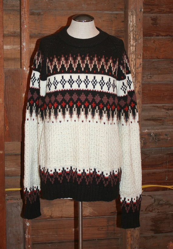 Cozy On Up  - Vintage Sweater - Warm Sweater - Circa 1970's Fall Winter Sweater