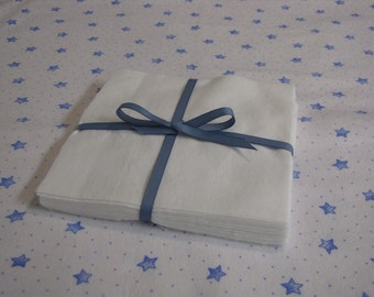 Set of 12 White Flannel Squares in 6 inch size for Quilts or Crafts