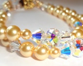 Gold Filled Crystal Gold Swarovksi Pearl Double Bracelet