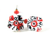 Red Black & White Earrings, Lampwork Earrings, Abstract Earrings, Funky Beadwork Earrings, Modern Dangle Earrings, Unique Earrings - Enigma