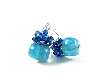 Blue Crystal Earrings, Blue Boro Lampwork Earrings, Azure Blue Glass Earrings, Turquoise Blue Earrings, Cluster Earrings - Blue Monday
