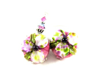 Lily Earrings, Pink Purple Flower Earrings, Botanical Earrings, Floral Jewelry, Lampwork Earrings, Glass Dangle Earrings - Meadow Lilies