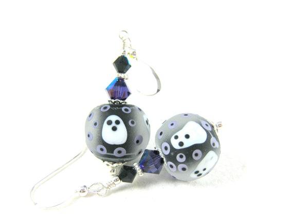 Ghost Earrings, Halloween Earrings, Purple Black Lampwork Earrings, Spooky Earrings, Beadwork Earrings, Scary Earrings - Boo