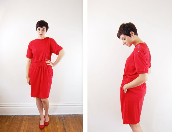 1980s Red Tee Shirt Dress - S/M