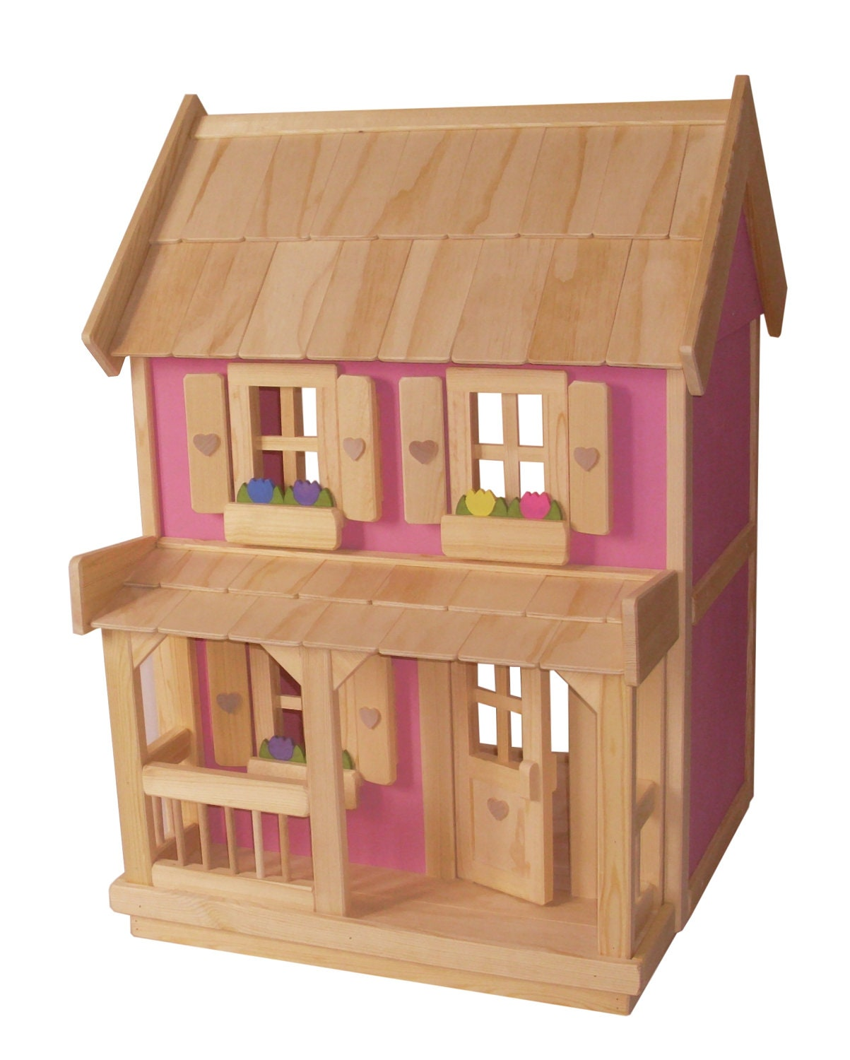 Wooden doll house with 7 piece wood dollhouse furniture for Furniture house