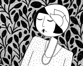 Ramona, lost in thought  // art print // black and white flapper illustration
