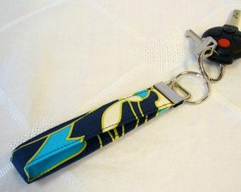 Wristlet Key Fob Amy Butler Fabric Keyring Keychain Wildflowers Navy Turquoise Blue Handmade MTO