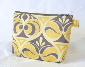 Gadget Bag Cosmetic Bag Joel Dewberry Fabric Zipper Pouch Makeup Bag Cotton Zip Pouch Spade Damask Sand Yellow Gray Handmade MTO
