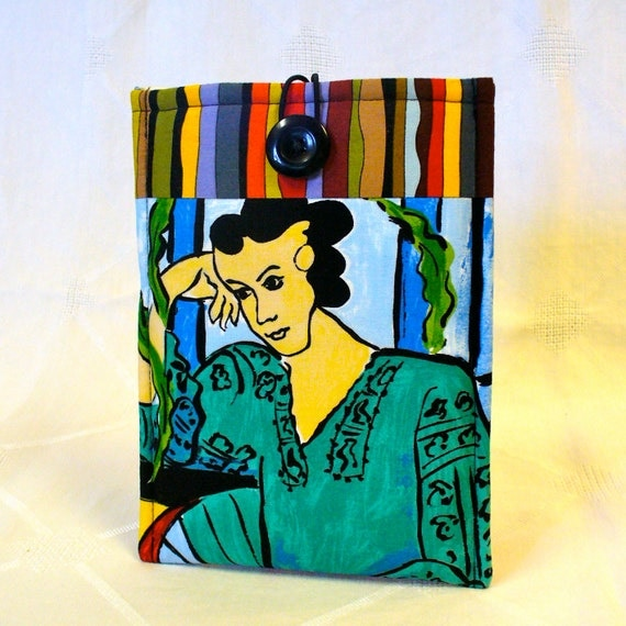 SALE iPad Mini Case NOOK Cover Ebook Case Nook Color Cover Padded NOOK Sleeve Ready to Ship Matisse Fabric Woman in Green Blouse