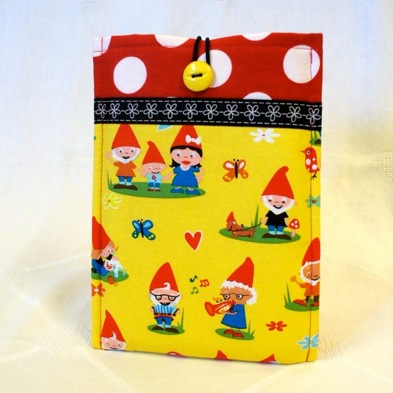 Kindle Fire Case Gnoming Around Fabric Cover Kindle Keyboard Cover Padded Sleeve Gnomes Yellow Red Handmade