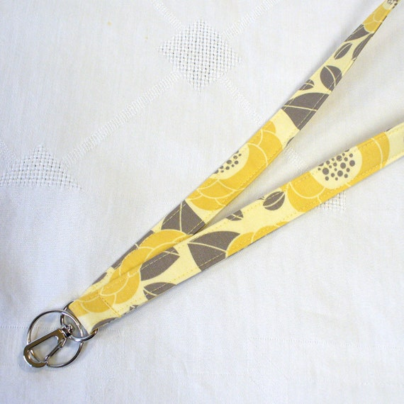 Fabric Lanyard Badge Holder Breakaway Lanyard Joel Dewberry Fabric ID Clip Key Ring Fob Bloom Sand Bamboo Yellow Gray Grey Handmade MTO