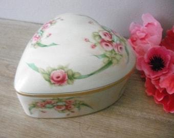 vintage painted Porcelain covered Heart dish .... Roses shabby chic cottage trinket storage vanity jar