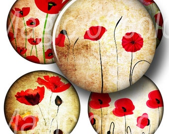Red Poppies on Yellow - 63  1 Inch Circle JPG images - Digital  Collage Sheet