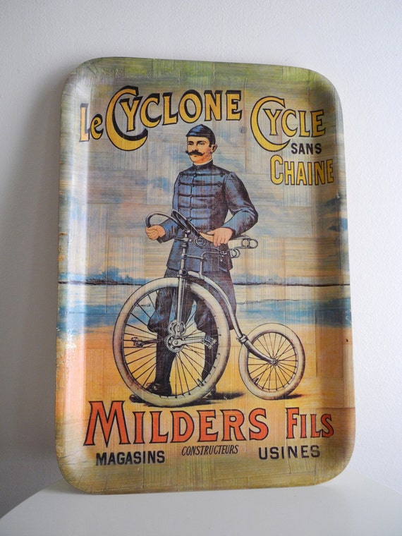 Large serving tray with OLD TIMEY cyclist ad